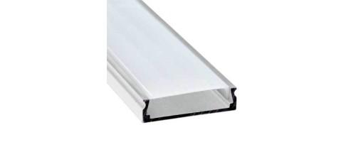 Профиль накладной алюминий 2м с матовым экраном 2 заглушки 4 крепежа для светодиодной ленты