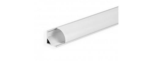 Профиль угловой алюминий 2м с матовым экраном 2 заглушки 4 крепежа для светодиодной ленты