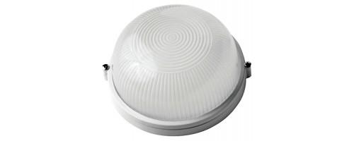 Светильник НПП-60w Е27 круглый белый без решетки металл