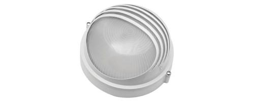 Светильник НПП-60w Е27 круглый белый, козырек металл